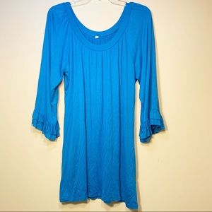 Blue Dress With Ruffles At The Sleeves | Medium
